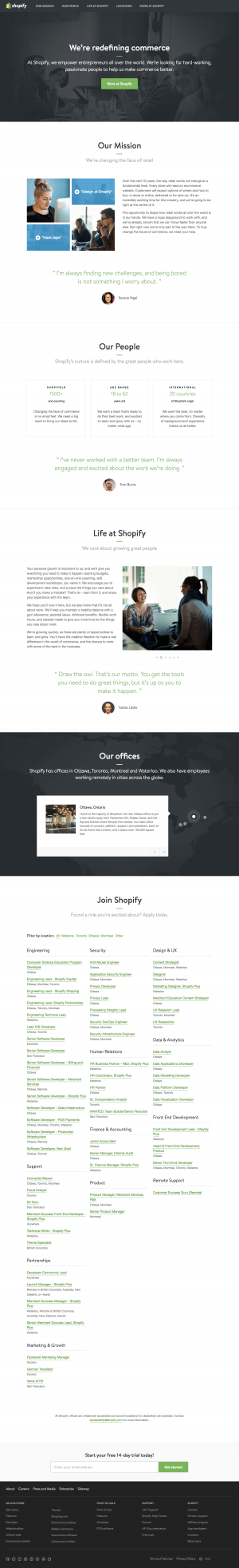 Jobs page inspiration - saas Shopify