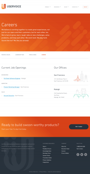 Jobs page inspiration - saas UserVoice