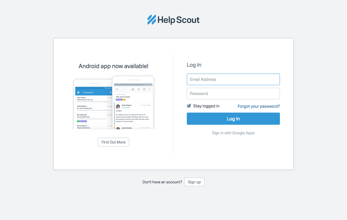 Login page inspiration - Help Scout