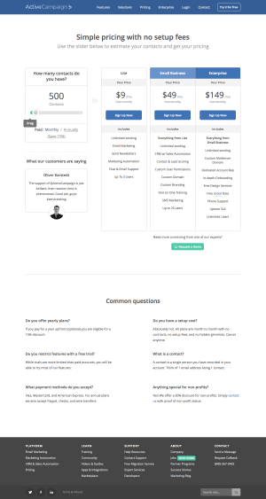 pricing page inspiration - saas ActiveCampaign