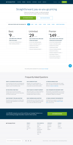 Pricing page inspiration - saas Campaign Monitor