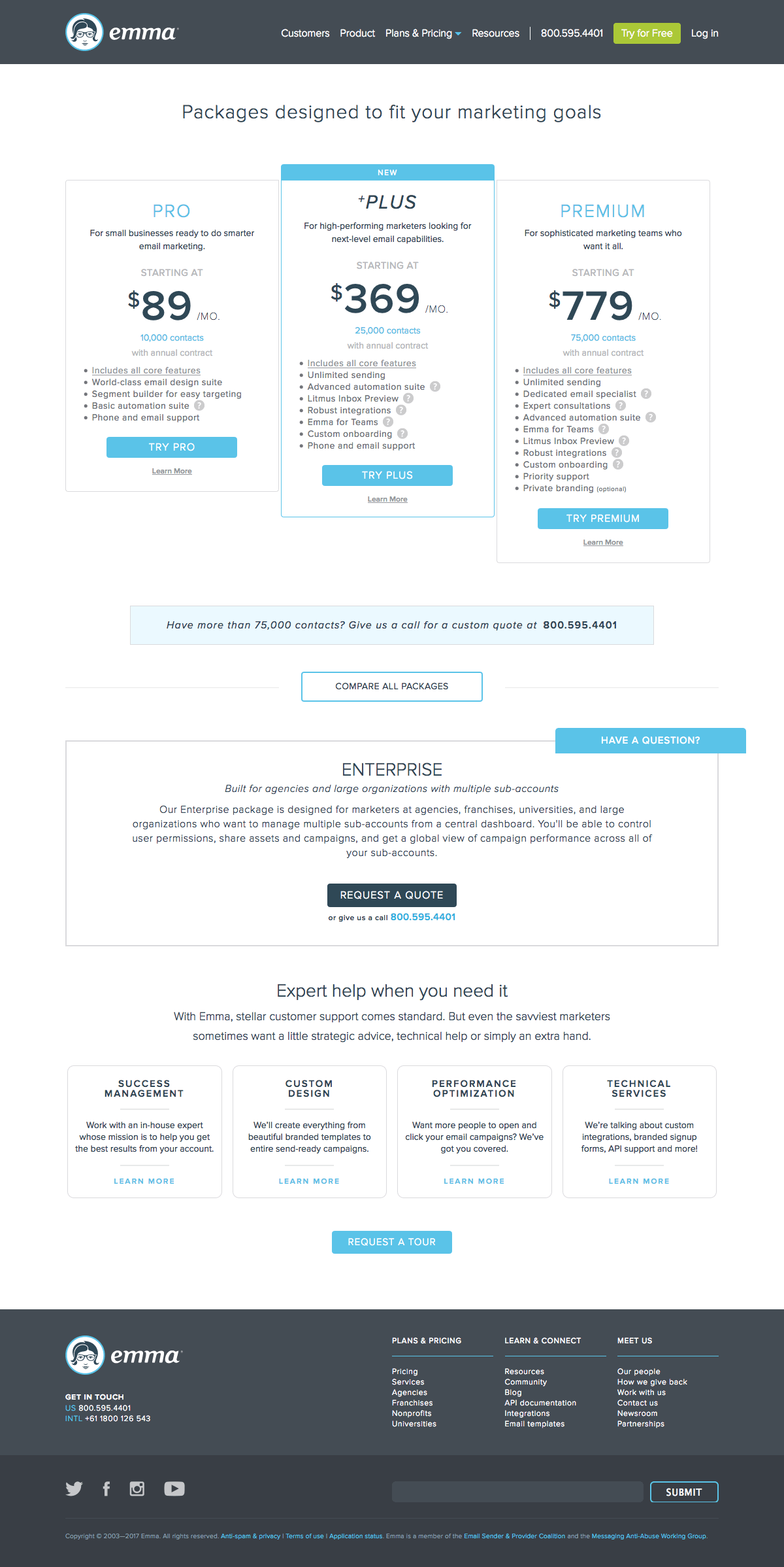 Pricing page inspiration - saas Emma
