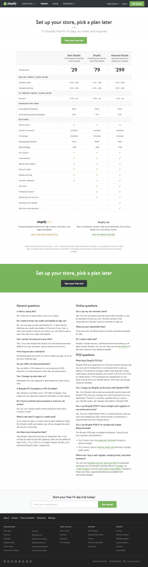 Pricing page inspiration - saas Shopify