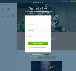 Sign up page inspiration - saas Campaign Monitor