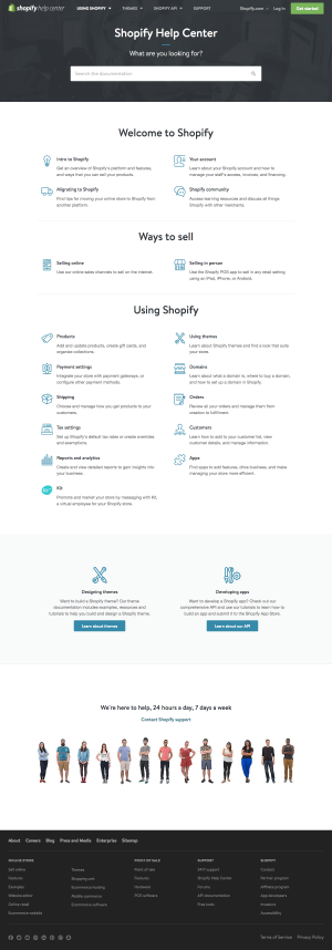 Support page inspiration - saas Shopify