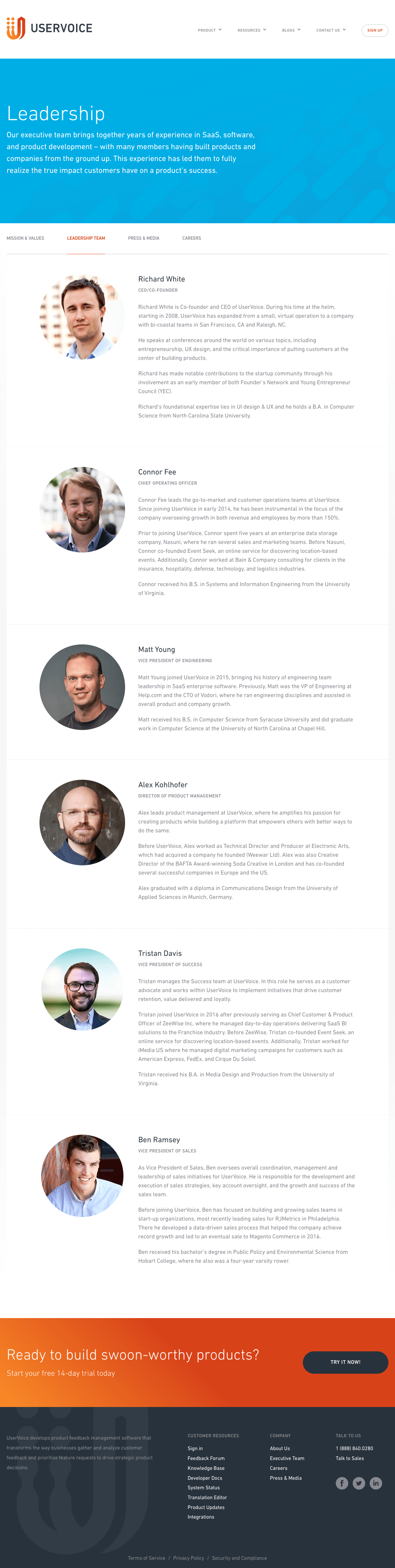 team page inspiration - saas UserVoice